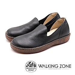 WALKING ZONE (女)柔軟真皮直套懶人鞋-黑(另有白)