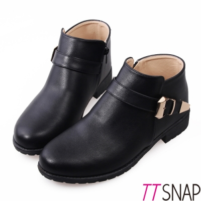 TTSNAP短靴-MIT率性單釦帶低跟踝靴 黑
