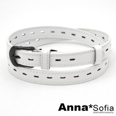AnnaSofia 黑釦車線長橢洞 中性腰帶皮帶(亞白)