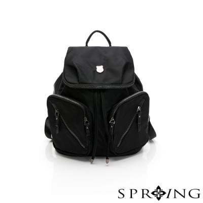 SPRING-未來質感系列尼龍掀蓋束口後背包-經典黑