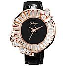 Galtiscopio迦堤 閃轉浪漫系列幾何手錶-黑x玫塊金框/36mm