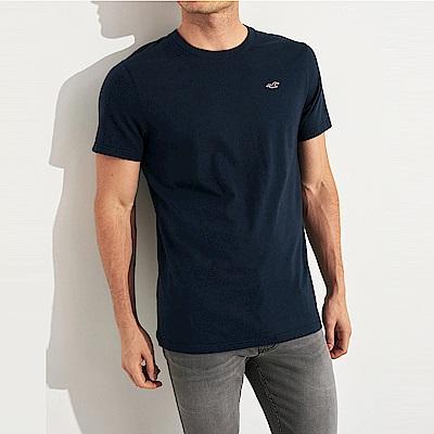 海鷗 Hollister HCO 經典刺繡標誌圓領素面短袖T恤-深藍色
