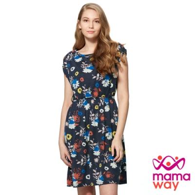 【mamaway 媽媽餵】迪士尼印花孕婦洋裝.哺乳洋裝(丈青)