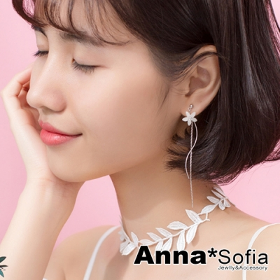 AnnaSofia 鋯花曲線流蘇鍊 後掛墜925純銀針耳針耳環(銀系)