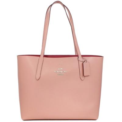 COACH AVENUE TOTE粉紅硬版全皮肩背托特包