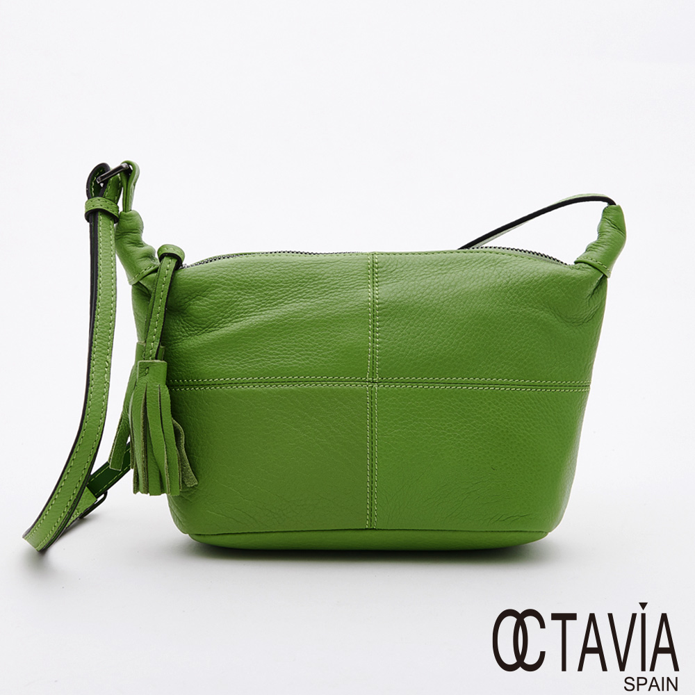 OCTAVIA8 真皮 -  擺渡  牛皮十字車線彩色肩斜二用小包 - 青螢綠