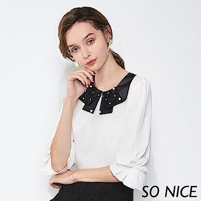 SO NICE優雅珍珠造型領雪紡上衣