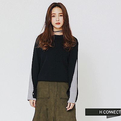 H:CONNECT 韓國品牌 女裝-衣袖造型拼接上衣-藍