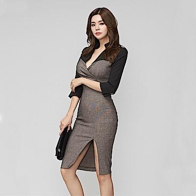 DABI 韓系時尚拼V領收腰顯瘦前開叉包臀長袖洋裝
