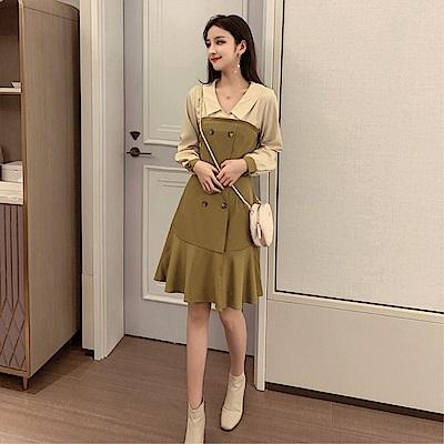 DABI 韓國風名媛收腰顯瘦V領雪紡復古氣質長袖洋裝