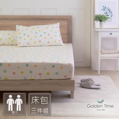 GOLDEN-TIME-小彩花-200織紗精梳棉三件式床包組(雙人)