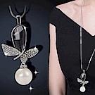 梨花HaNA 百搭系列蝴蝶花園銀色珍珠長項鍊