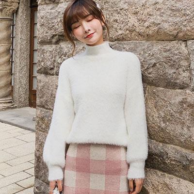 慵懶風高領豎條紋寬鬆針織衫 (共二色)-Kugi Girl