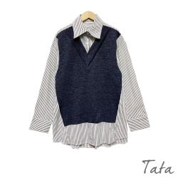 拼接直條紋假兩件V領上衣 TATA-F