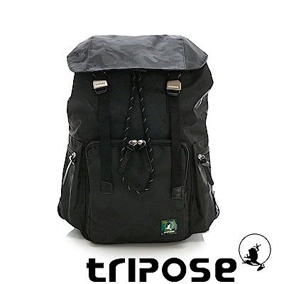 tripose 迷彩系列輕量休閒多格層束口雙釦後背包 黑色