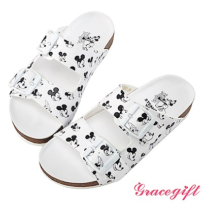 Disney collection by gracegift滿版雙帶飾釦平底涼鞋-白