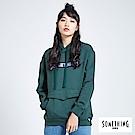 SOMETHING 青春高校 基本LOGO口袋連帽T恤-女-苔綠