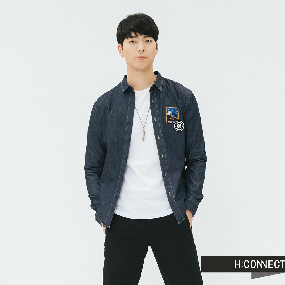 H:CONNECT 韓國品牌 男裝-特色貼布牛仔襯衫-藍