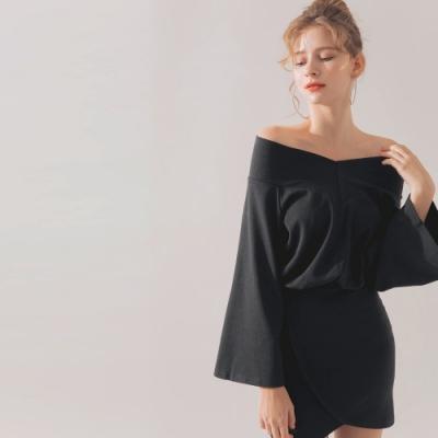 AIR SPACE 露肩交叉裙長袖洋裝(黑)