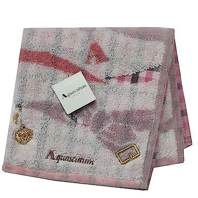 Aquascutum 經典品牌格紋蝴蝶結圖騰字母LOGO刺繡小方巾(粉紅系)