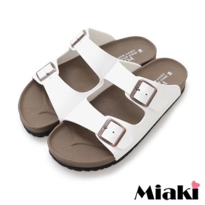 Miaki-拖鞋MIT舒適經典皮質平底涼拖-白