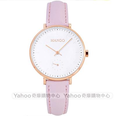 MANGO 優雅簡約小秒盤真皮手錶-白X粉/34mm