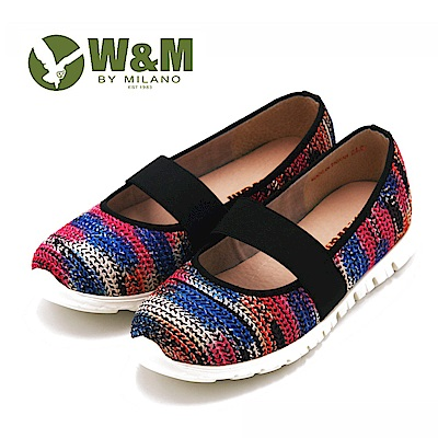 W&M 撞色編織風 厚底寬帶休閒女鞋-粉(另有灰)