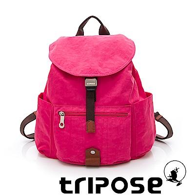 tripose MEMENTO系列微皺尼龍輕量防潑水後背包-小 桃紅色