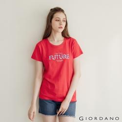 GIORDANO  女裝復古印花短袖T恤 - 71 競賽紅