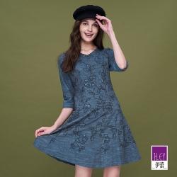 ILEY伊蕾 典雅花卉藤蔓刺繡七分袖洋裝(藍)