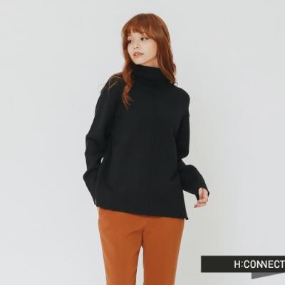 H:CONNECT 韓國品牌 女裝 - 純色質感高領針織上衣-黑(快)