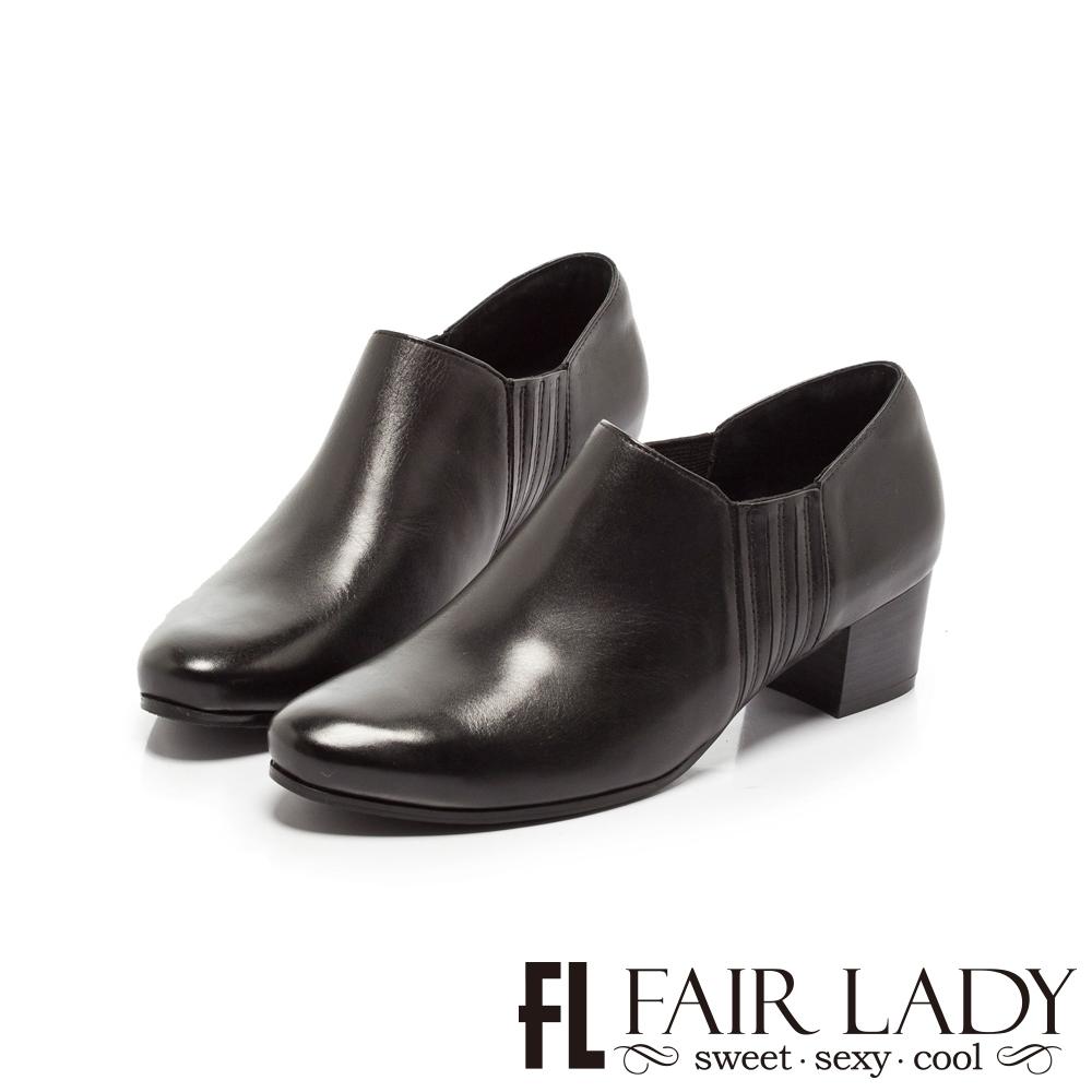 【FAIR LADY】簡約復古側鬆緊拼接粗跟踝靴 黑