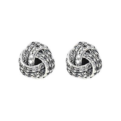 Pandora 潘朵拉 閃耀愛之結鑲鋯 純銀耳環