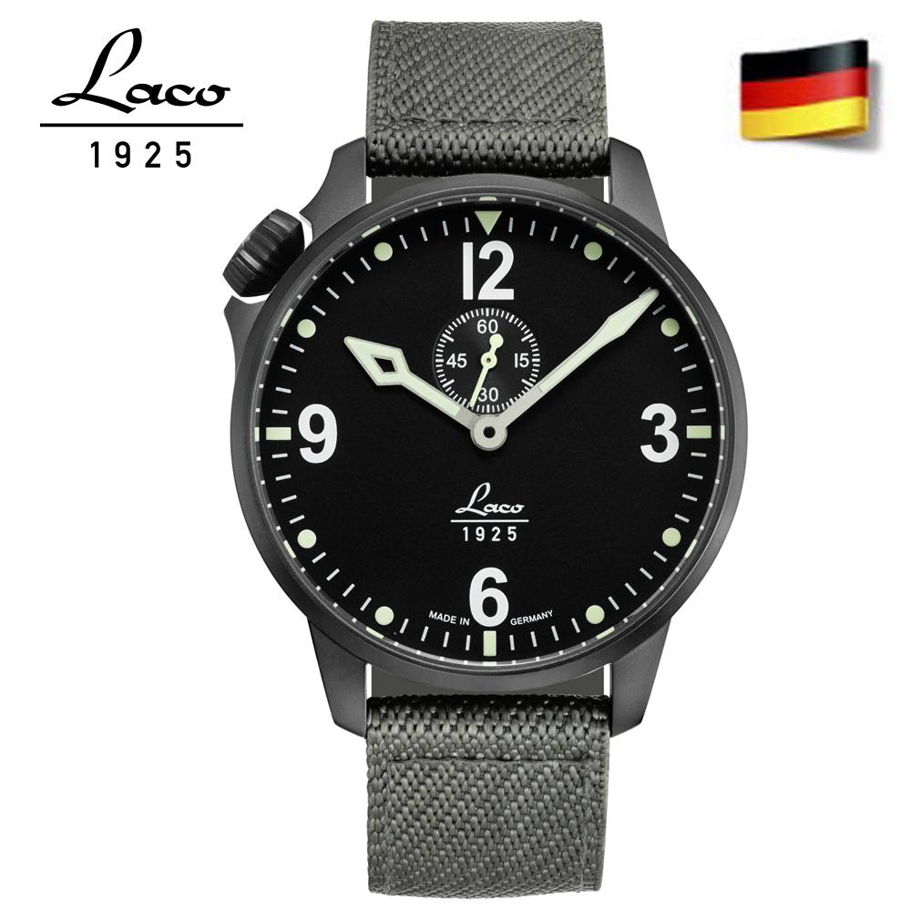 Laco 朗坤861909 德國空軍駕駛艙系列夜光全自動機械休閒男錶深灰尼龍錶帶42mm