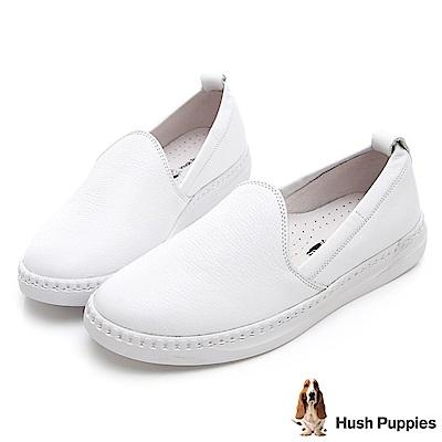 Hush Puppies Kite 可水洗牛皮懶人鞋-白色
