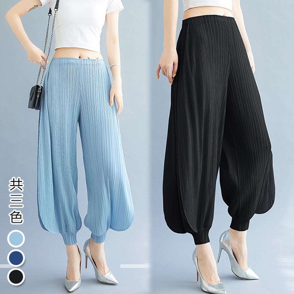 [KEITH-WILL]天藍緞三宅壓褶風喇吧風設計寬褲 (淺藍色)