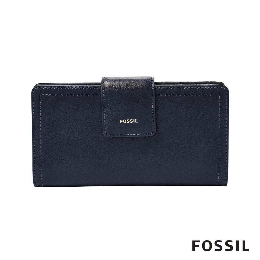 FOSSIL LOGAN 真皮系列拉鍊零錢袋設計中夾-海軍藍 SL7830406