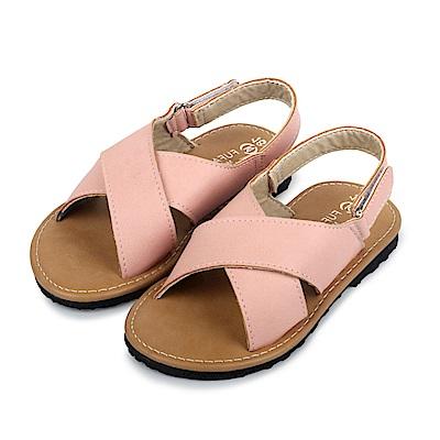 BuyGlasses 夏季風交叉魔鬼氈兒童涼鞋-粉