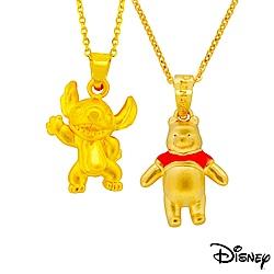 迪士尼系列金飾 立體黃金墜子-焦點史迪奇款+樂活維尼款 送項鍊