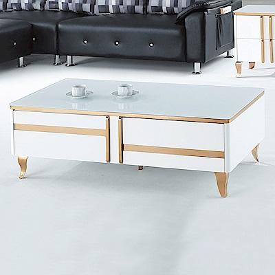 Boden-馬菲4.3尺白色玻璃大茶几-130x70x45cm
