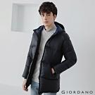 GIORDANO 男裝中長版連帽羽絨外套 - 01 標誌黑