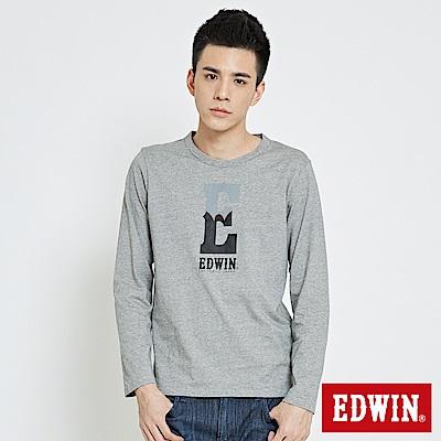 EDWIN E字簡約薄長袖T恤-男-黑色