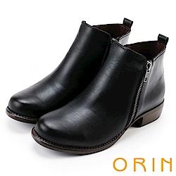 ORIN 經典復古 牛皮雙拉鏈低跟短靴-黑色