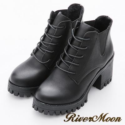 River&Moon歐美造型綁帶側鬆緊厚底粗跟短靴-百搭黑