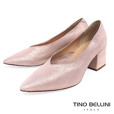 Tino Bellini 義大利進口V型深口尖楦中跟鞋 _ 粉