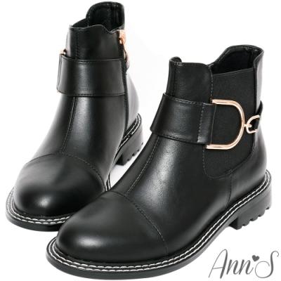 Ann'S大小D金釦切爾西平底短靴-黑(版型偏小)