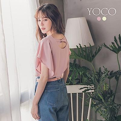 東京著衣-yoco 浪漫後鏤空蝴蝶結造型袖上衣-S.M.L(共二色)