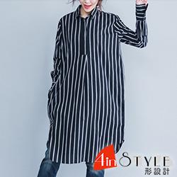 文青風翻領條紋長款襯衫 (黑色)-4inSTYLE形設計