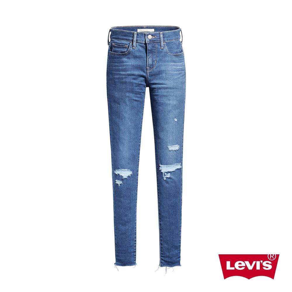Levis 女款 710中腰超緊身 超彈力牛仔褲 抓鬚刷破工藝 褲管不收邊