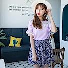 鏤空雕花蕾絲拼接網紗袖純色上衣-OB大尺碼
